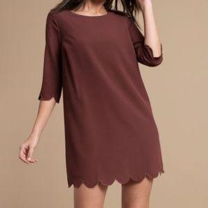 Mauve / Maroon / Wine Scalloped Tobi Dress